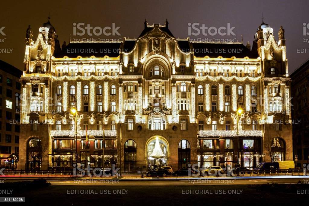 Gresham Palace at Night  -  Budapest stock photo