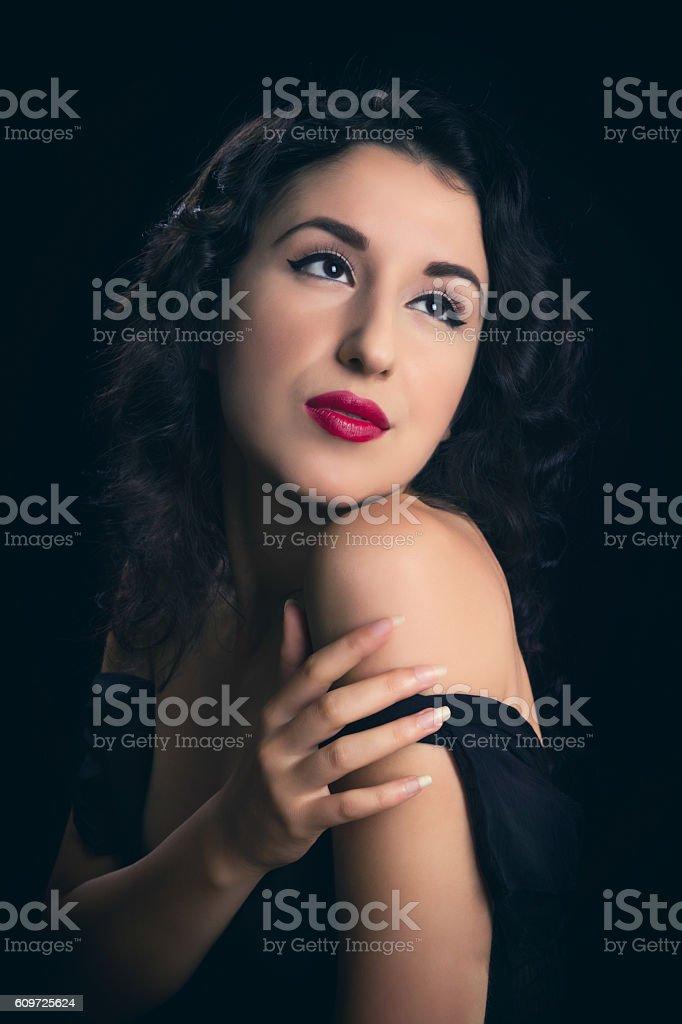 Greta Garbo style portrait stock photo