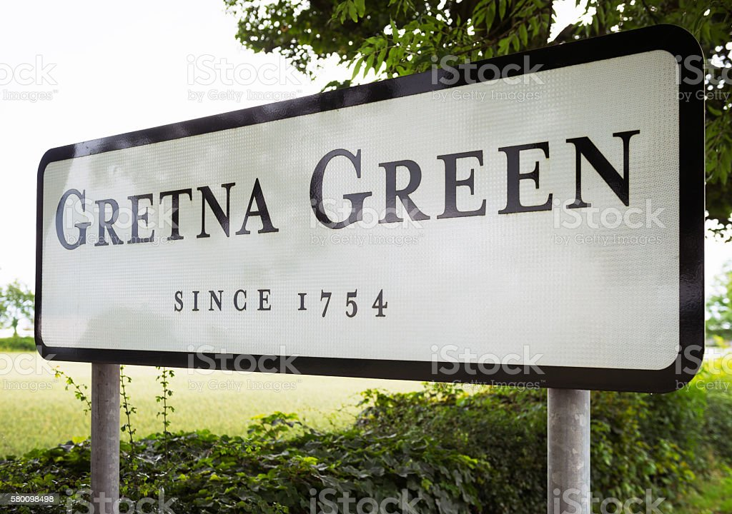 Gretna Green village entrance sign stock photo