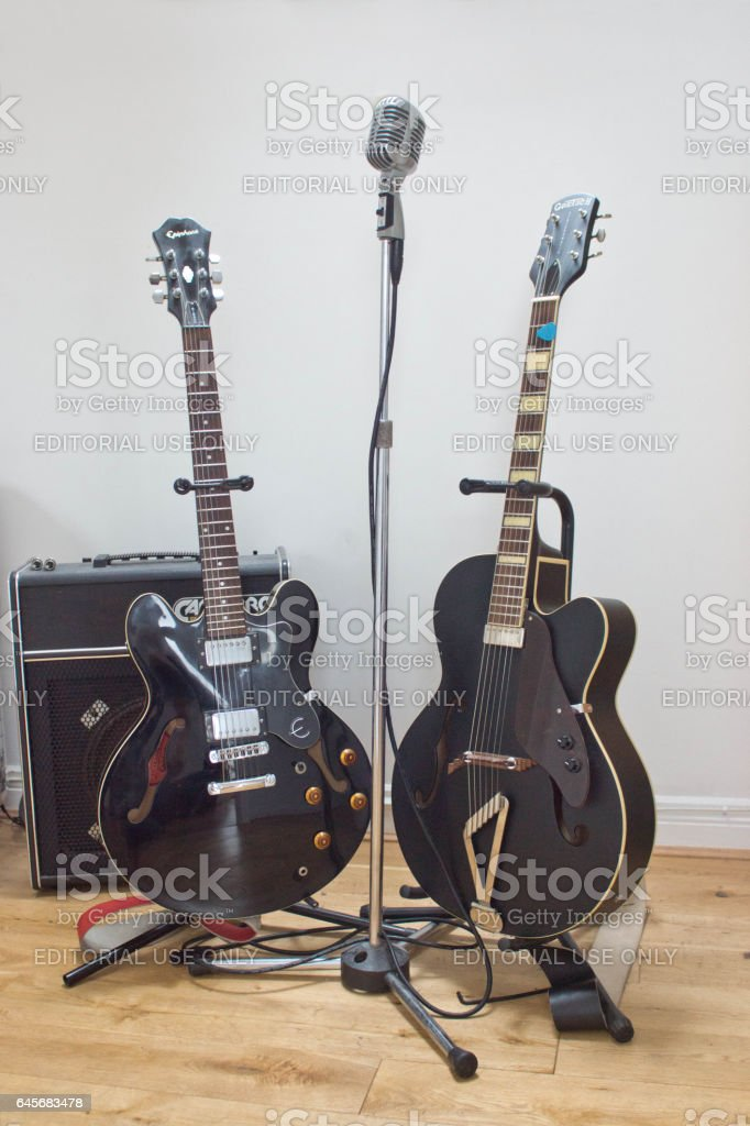 Gretsch and gibson electric and semi acoustic guitars stock photo