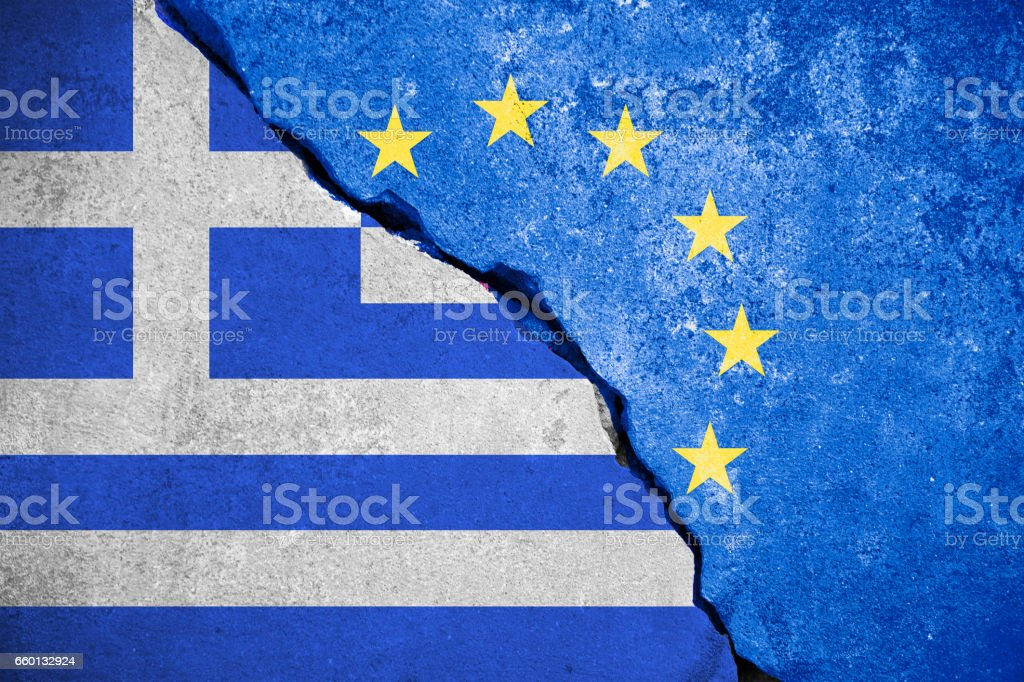 grexit blue european union EU flag on broken wall and half greece flag, vote for greek exit from europe stock photo