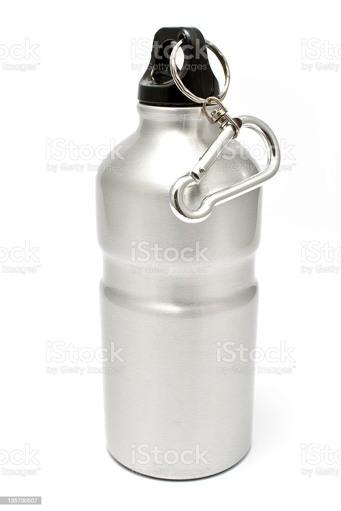Grey aluminum water flask royalty-free stock photo