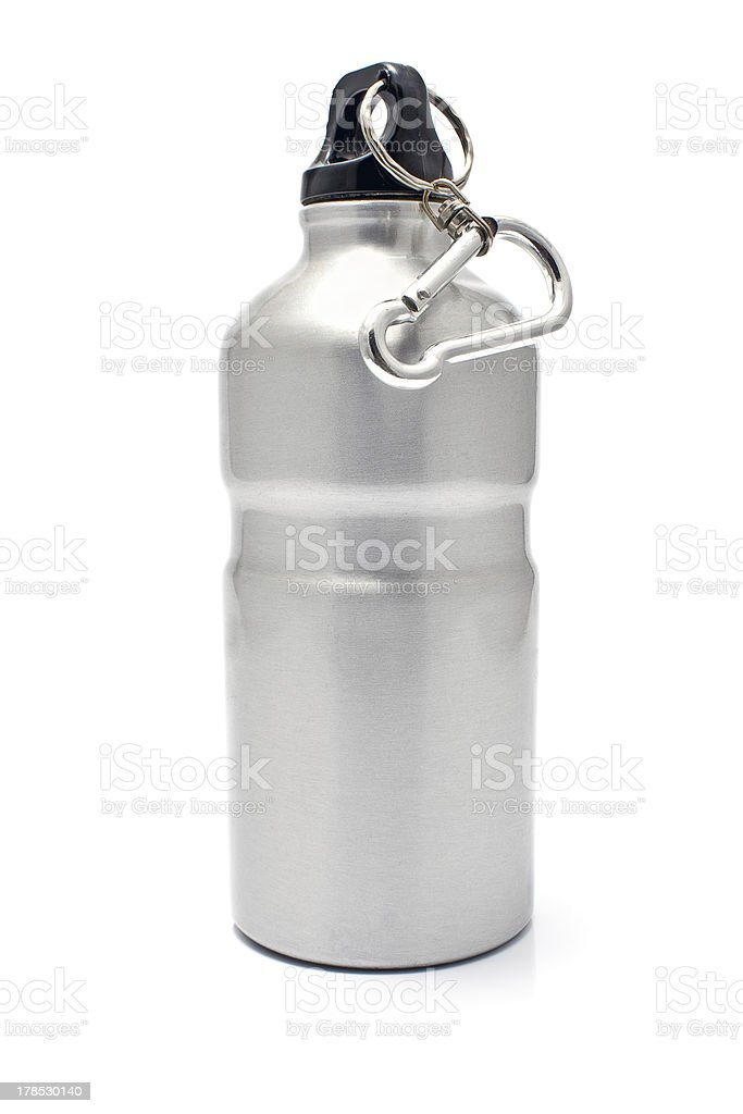 Grey aluminum water flask royalty-free stock photo