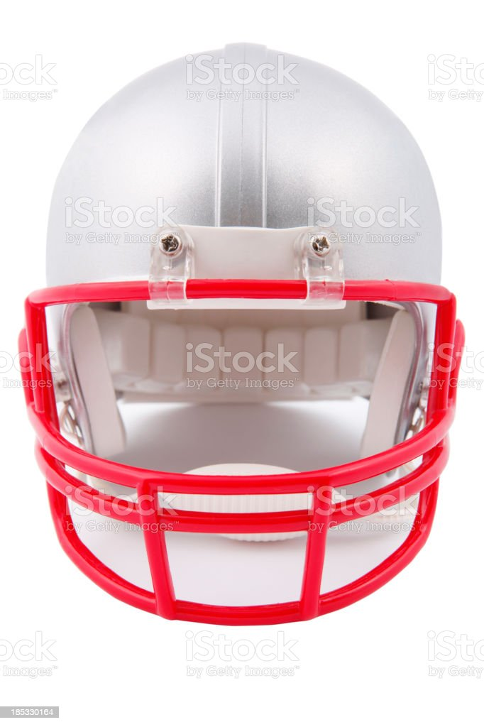 Grey American Football helmet stock photo