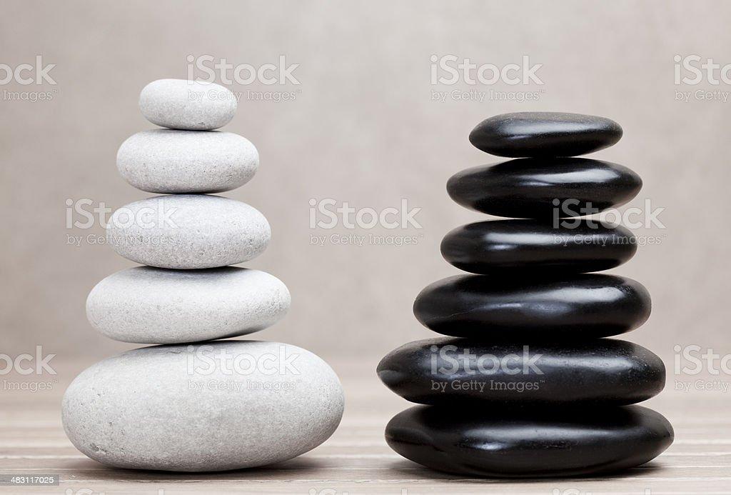 grey and black piled pebble stones royalty-free stock photo