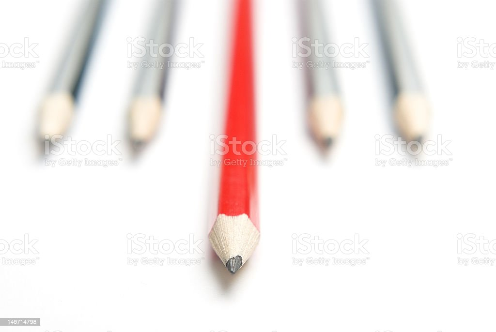 Grey and red pencils fanned down royalty-free stock photo