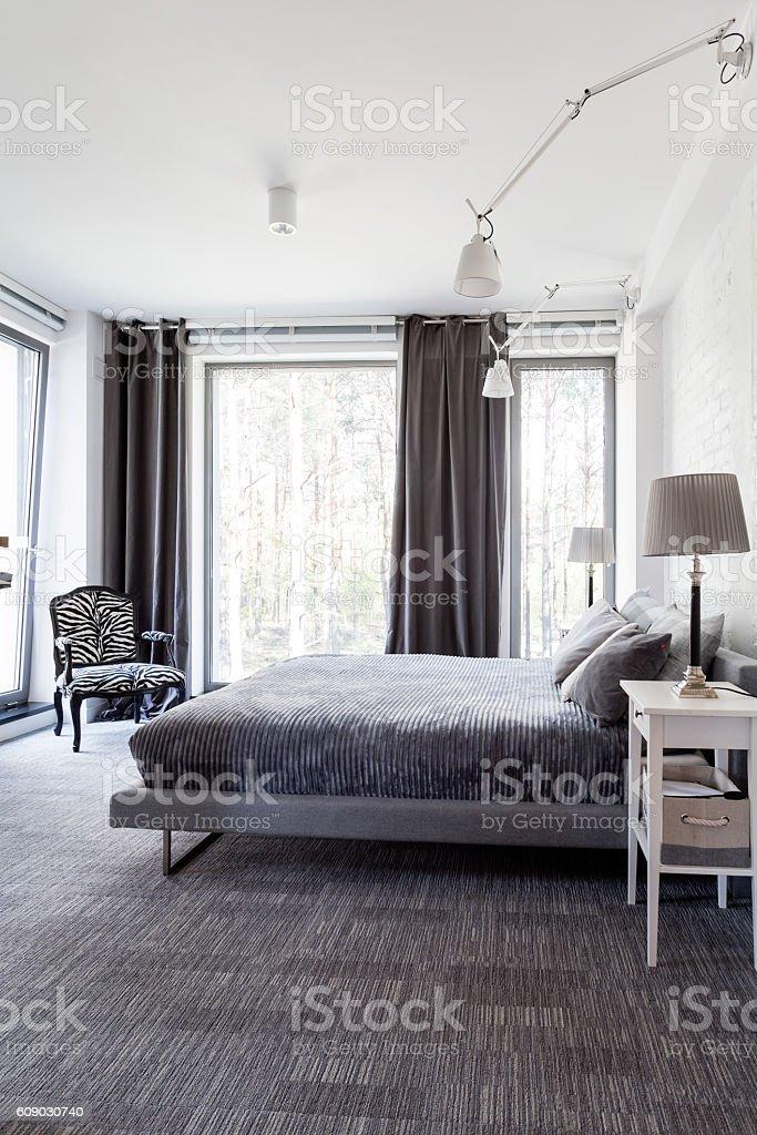 Grey and white bedroom stock photo