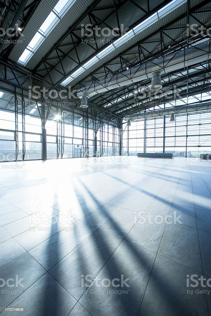 Grey and white picture of a hall stock photo