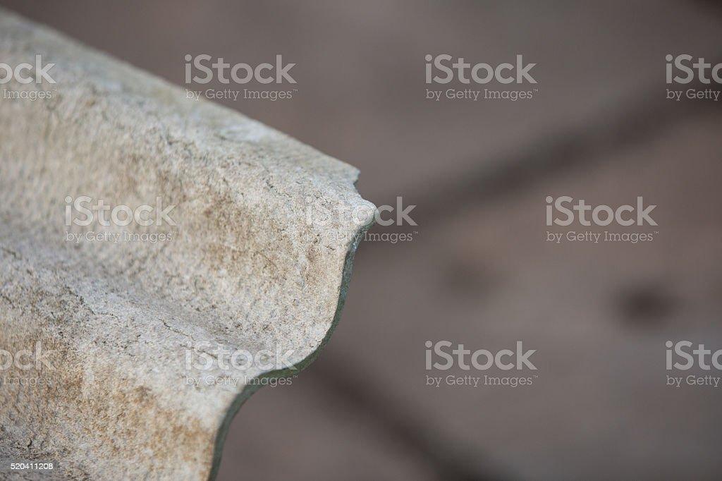 Grey asbestos corrugated roofing sheet stock photo
