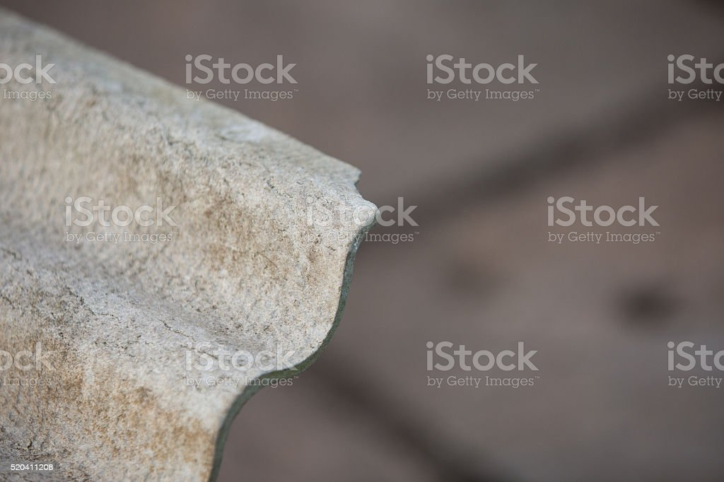 Grey asbestos corrugated roofing sheet stock photo