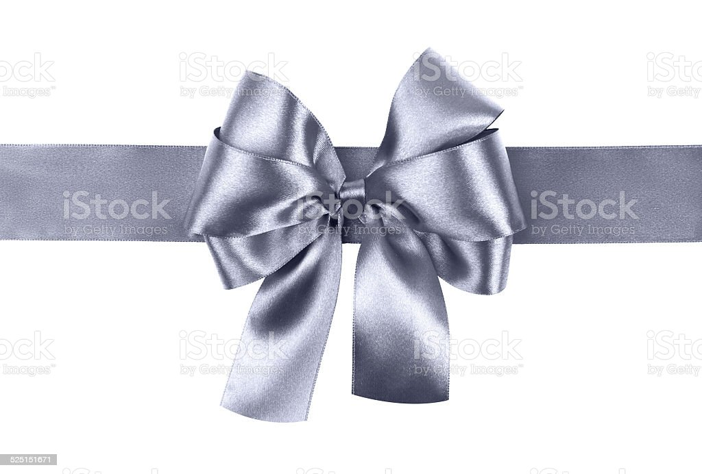 grey blue bow photo made from silk stock photo