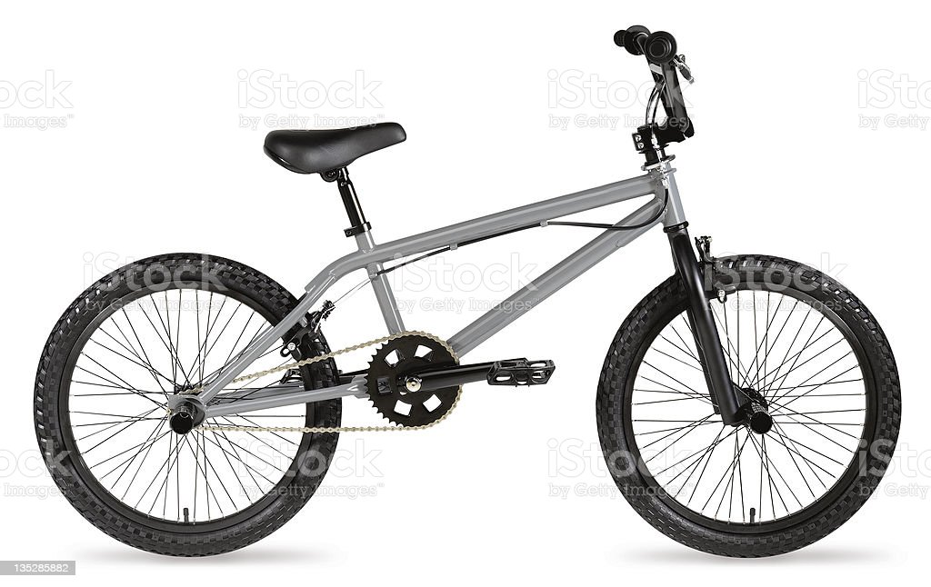 Grey BMX bike stock photo