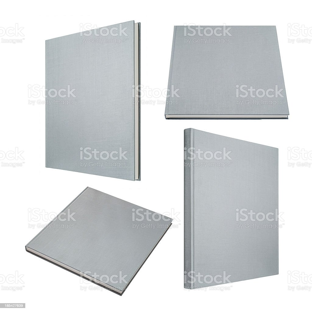 Grey book in four different angles isolated on white royalty-free stock photo