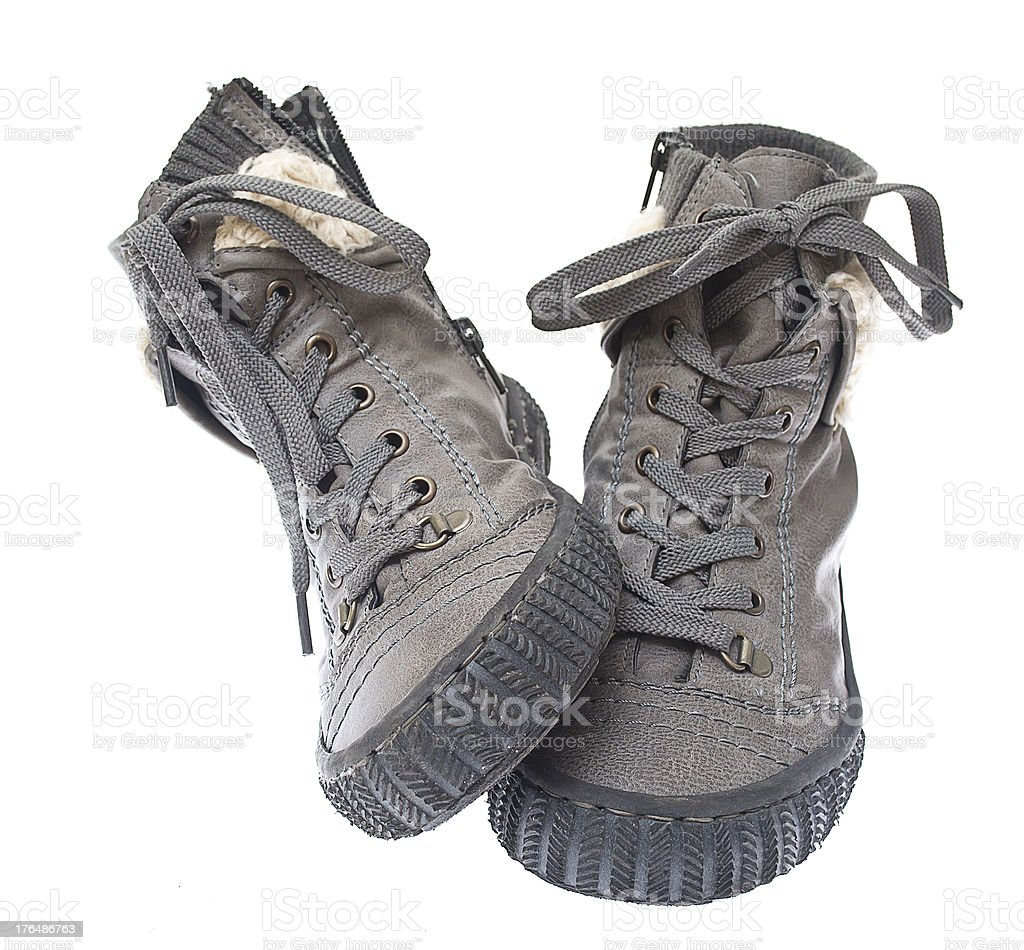 Grey boots royalty-free stock photo