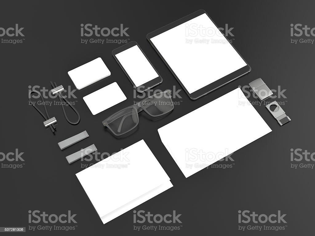 Grey branding mockup. Template set on black background. stock photo