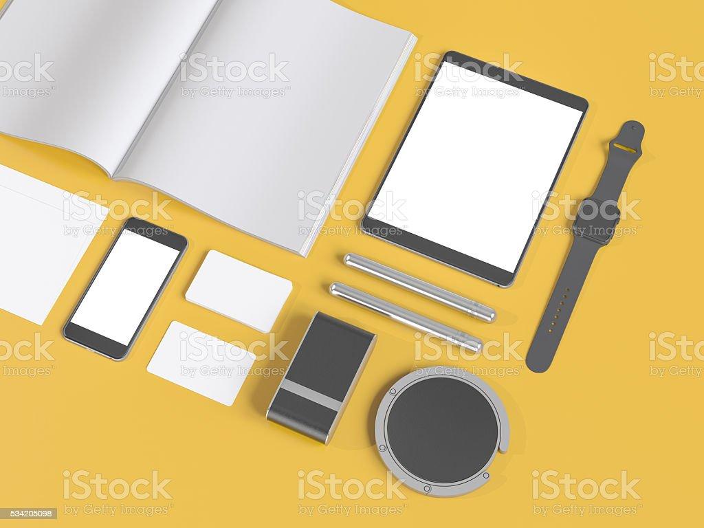 Grey branding mockup. Template set on yellow background stock photo