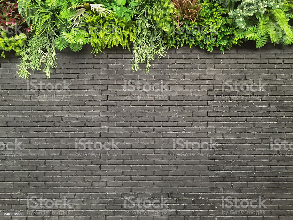 Grey brick wall with green garden decoration on top stock photo