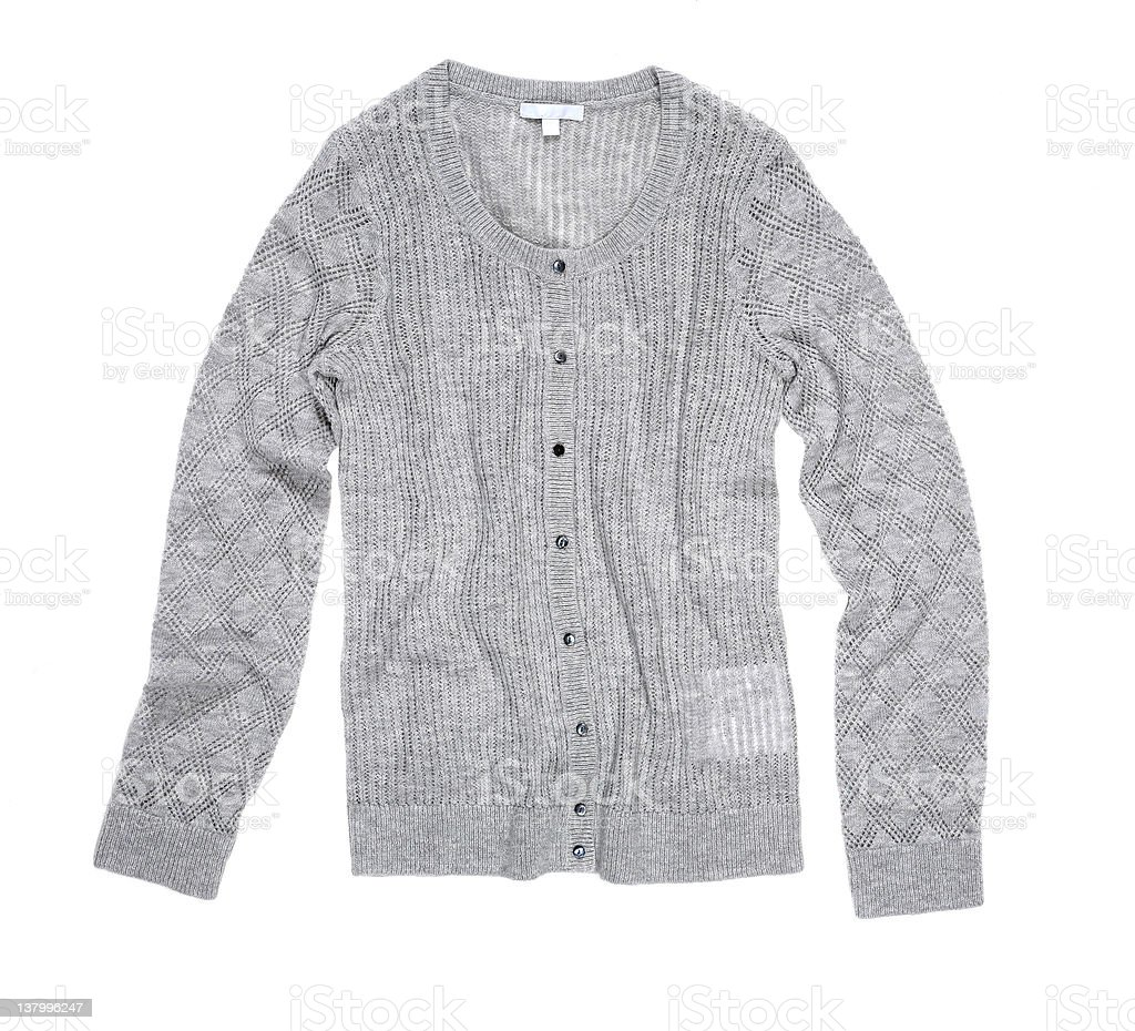 Grey cardigan sweater laid on a white background royalty-free stock photo