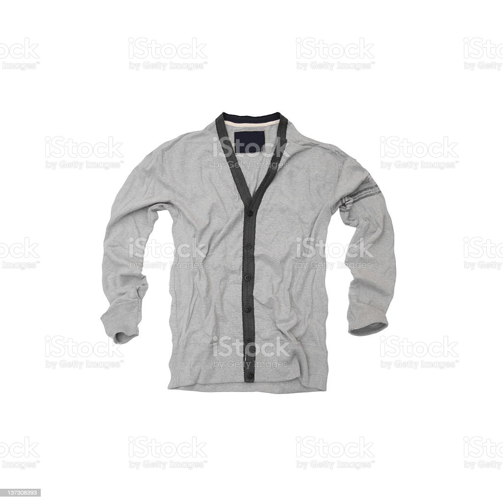 Grey Cardigan Sweater on White Background royalty-free stock photo