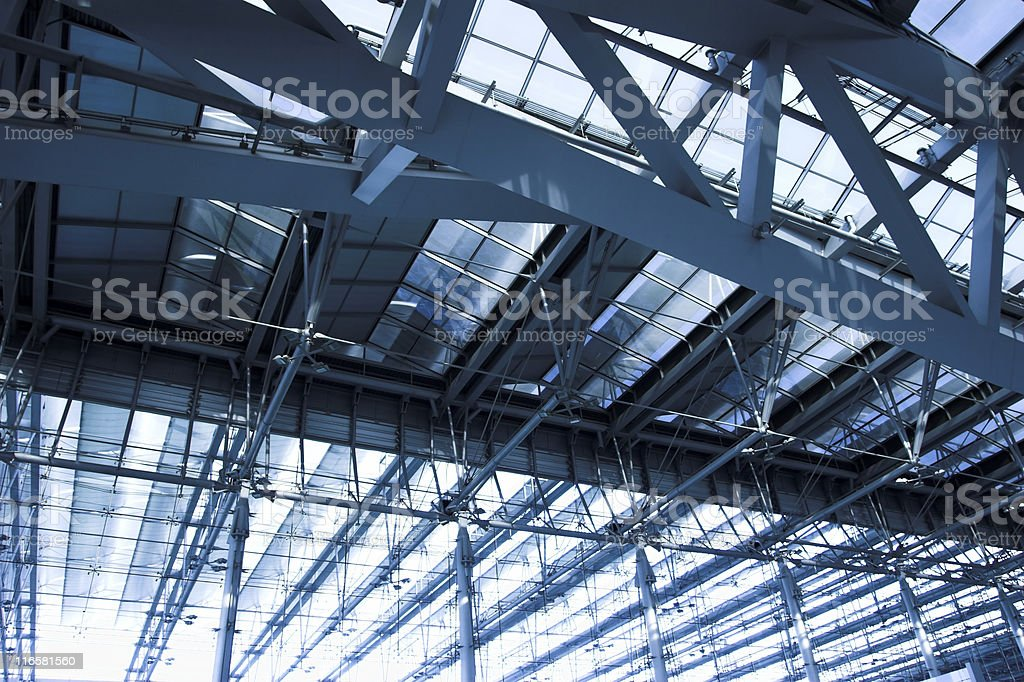 grey ceiling of office building stock photo
