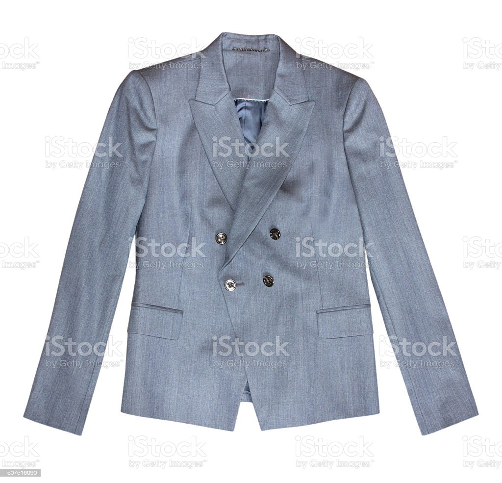 Grey classic female office jacket isolated stock photo