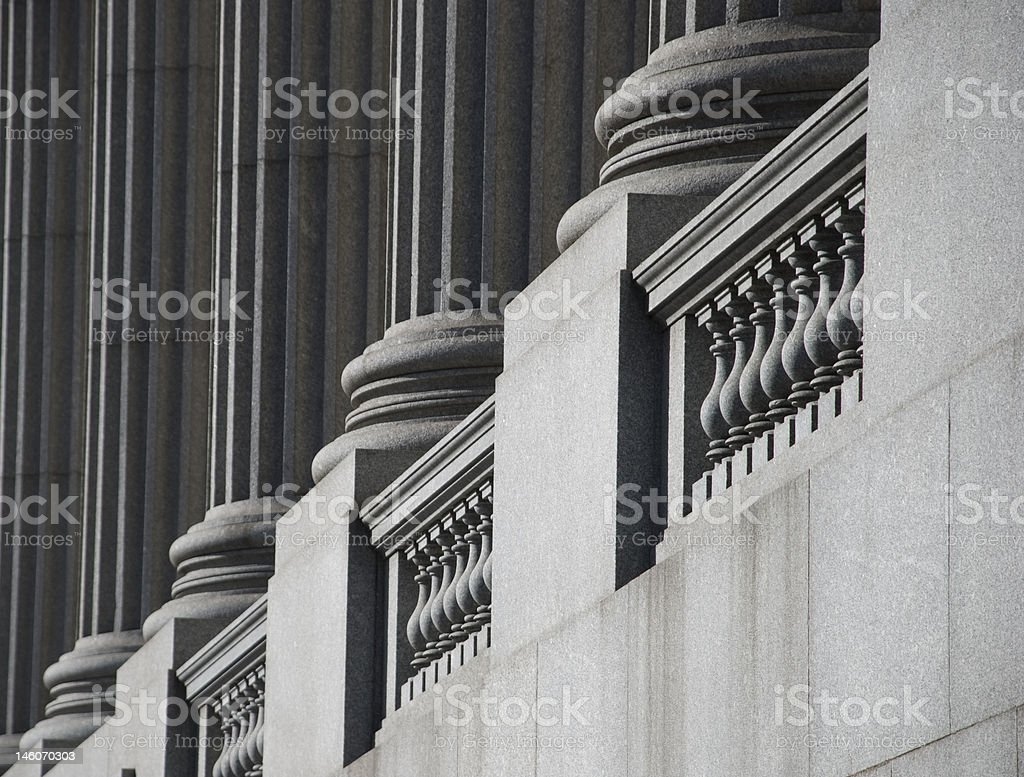 grey colonnade perspective stock photo