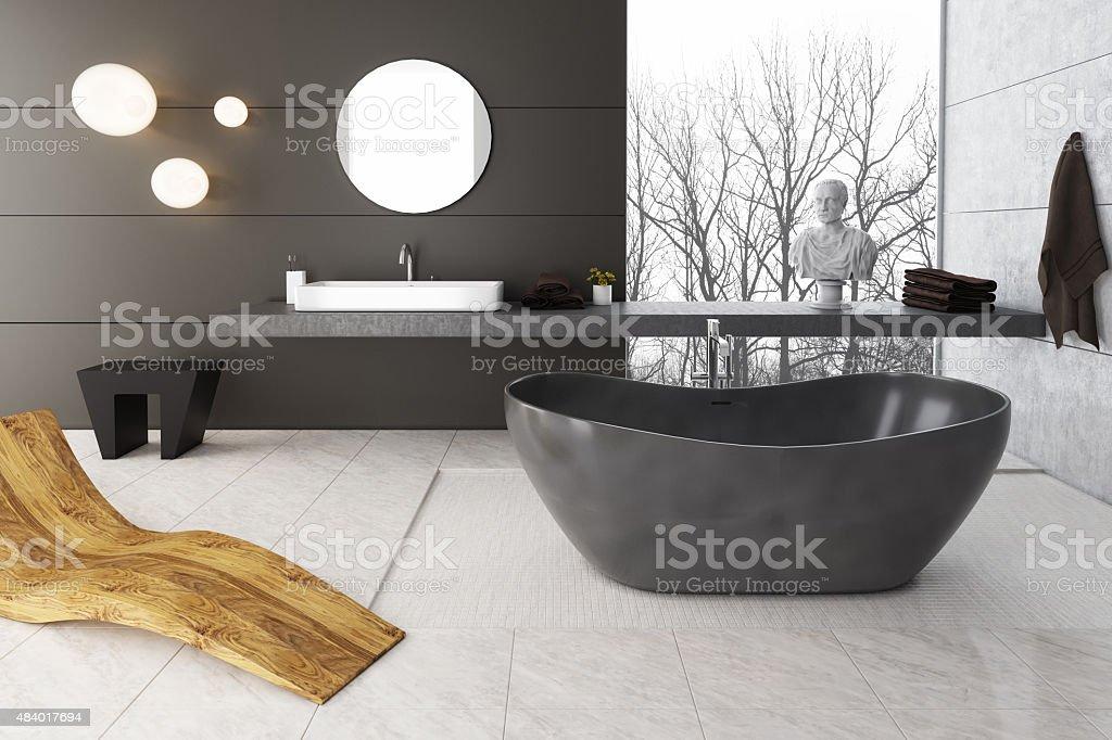 Grey Colors of Bathroom stock photo