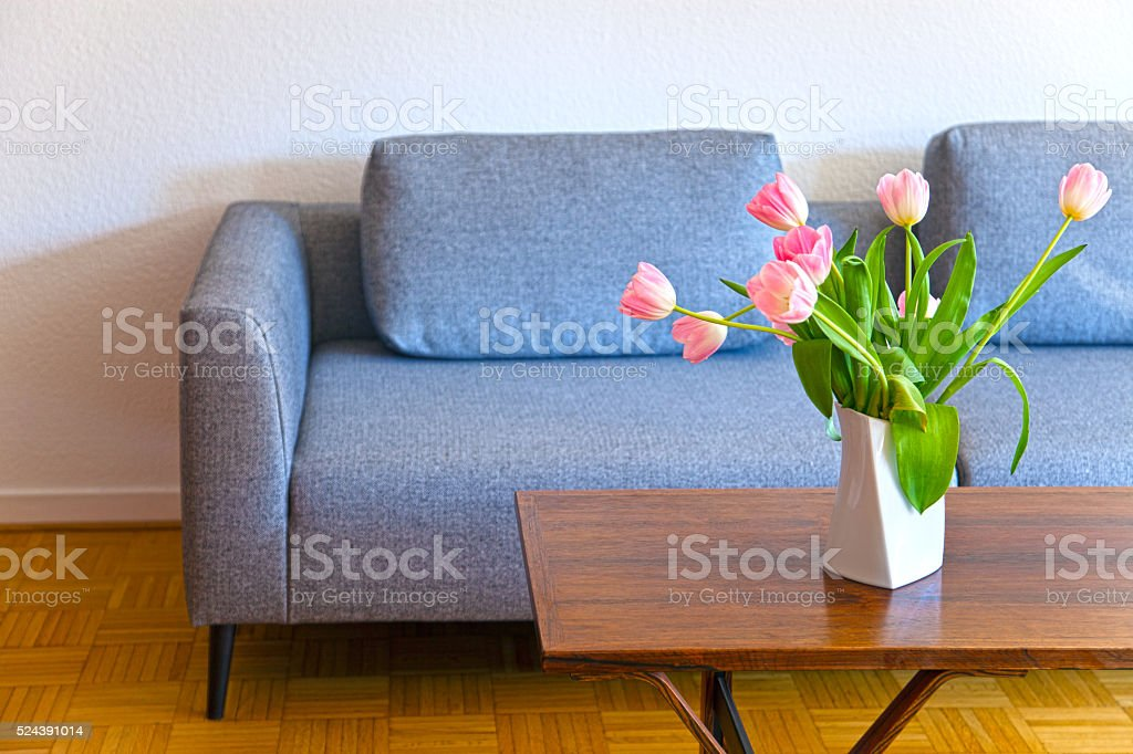 grey contemporary modern sofa stock photo