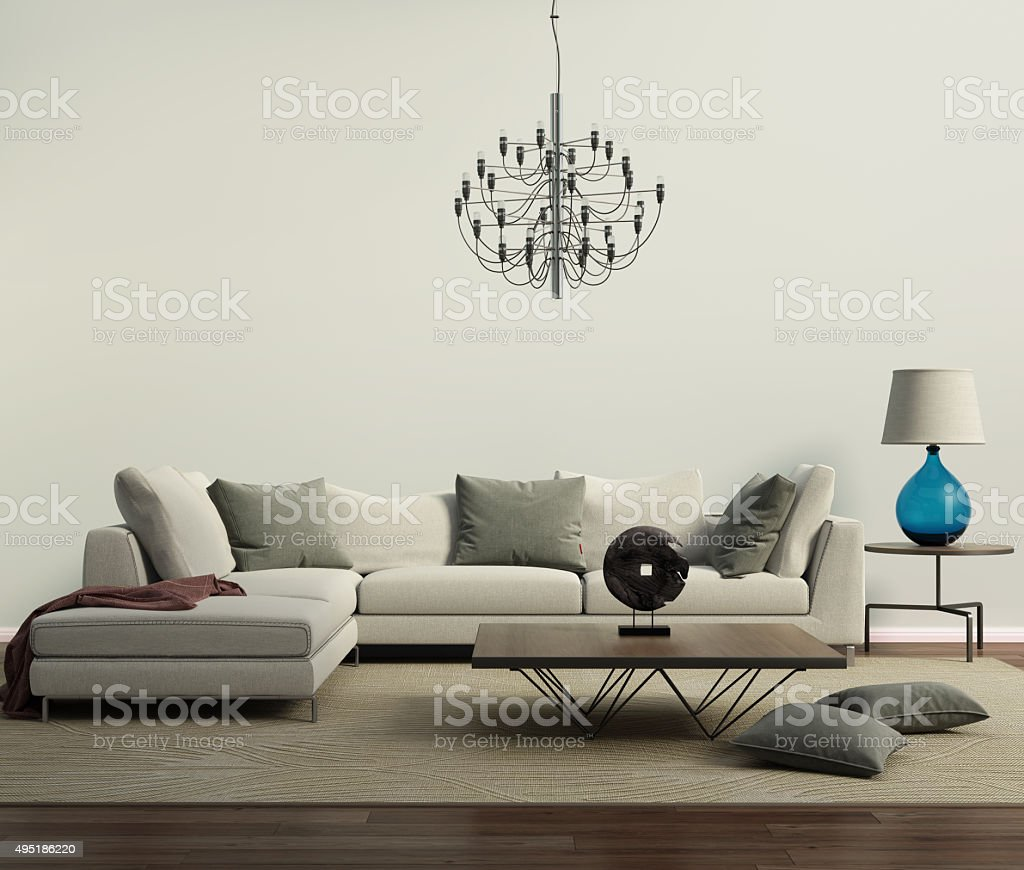 Grey contemporary modern sofa with lamp stock photo