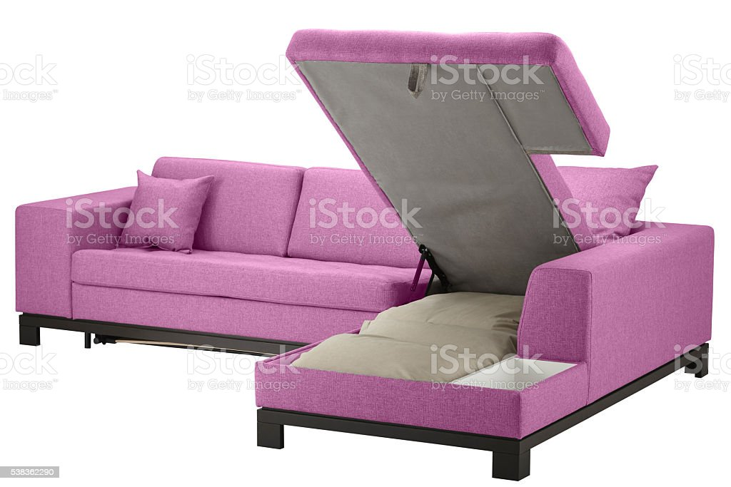 Grey corner couch bed stock photo