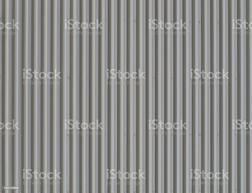 Grey Corrugated Metal Background. stock photo
