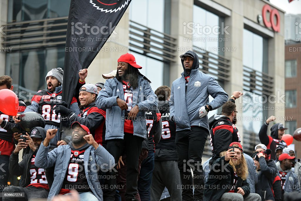 Grey Cup Parade in Ottawa stock photo