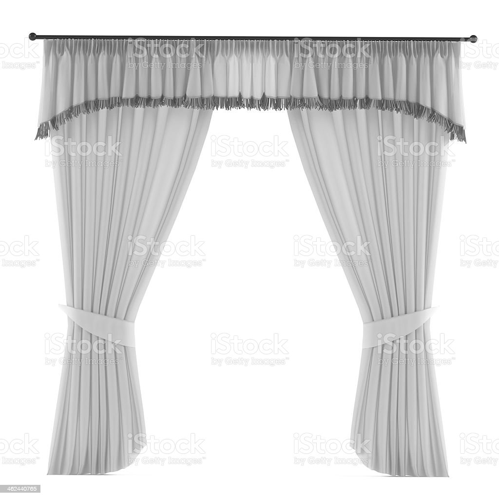 Grey curtains and pelmet on a white background stock photo