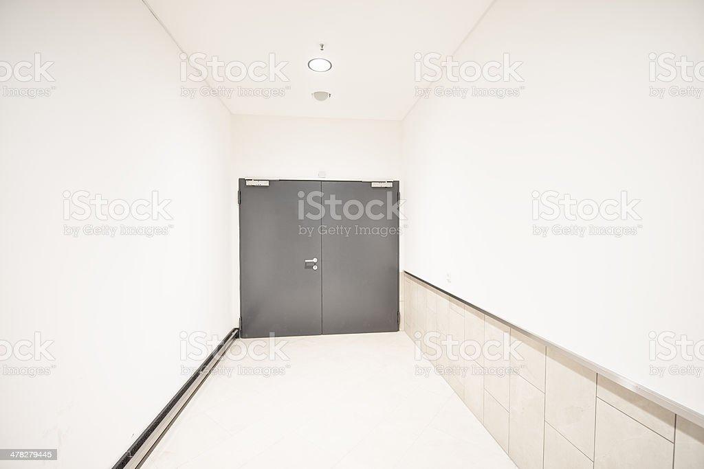 Grey Door Brandschutztuer stock photo