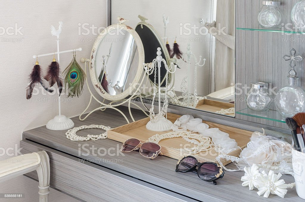grey dressing table with accessories stock photo