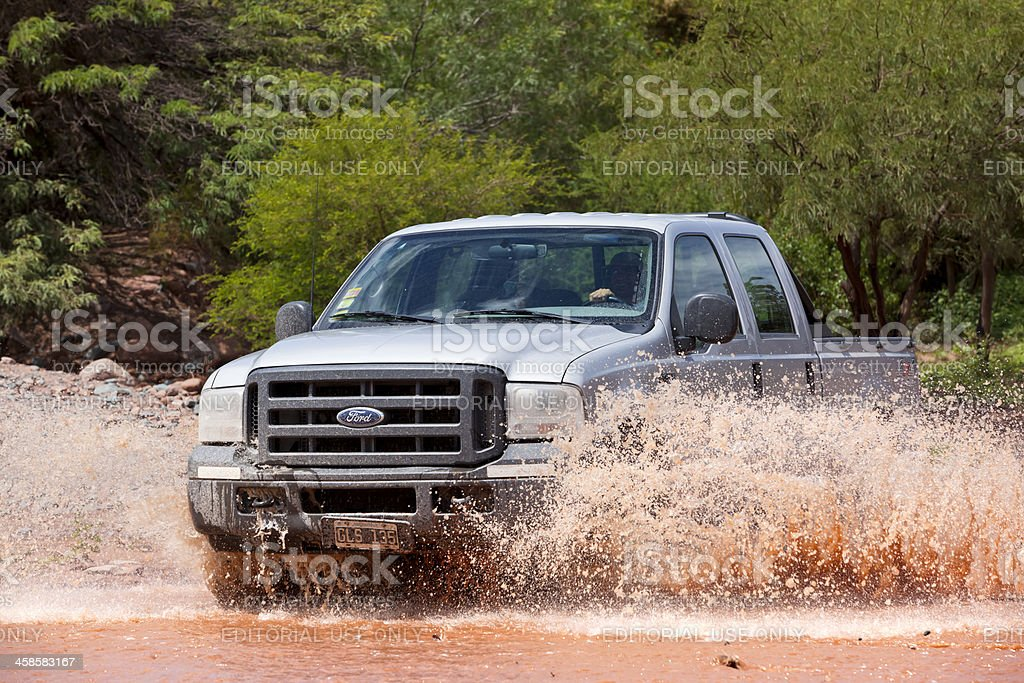 Grey Ford Ranger driving through argentine province of Salta stock photo