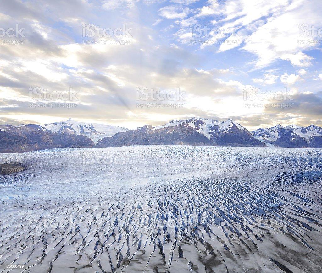 Grey glacier at sunset. royalty-free stock photo