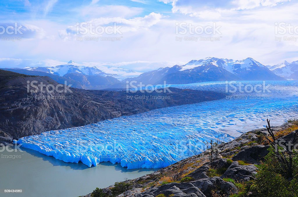 Grey glacier. Torres del Paine National park. stock photo