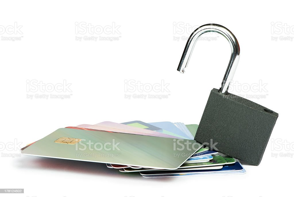 Grey locked padlock and credit cards. royalty-free stock photo