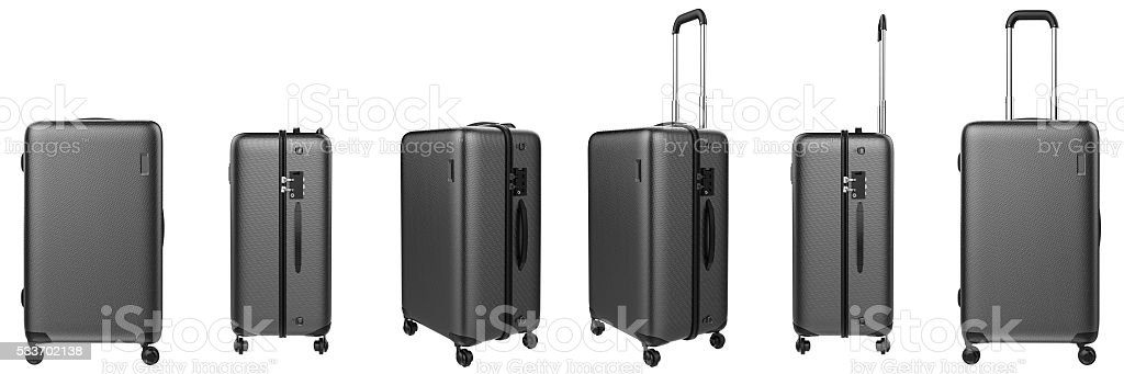 grey luggages in a row stock photo