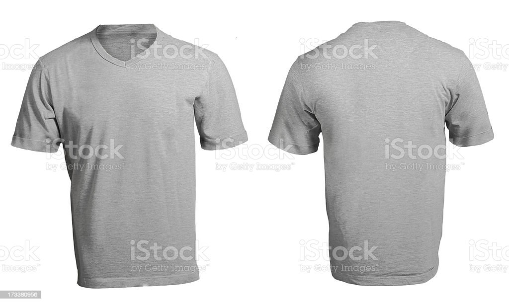 Grey male's v-neck shirt template stock photo