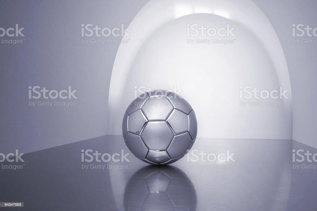 Grey metal soccer ball royalty-free stock photo