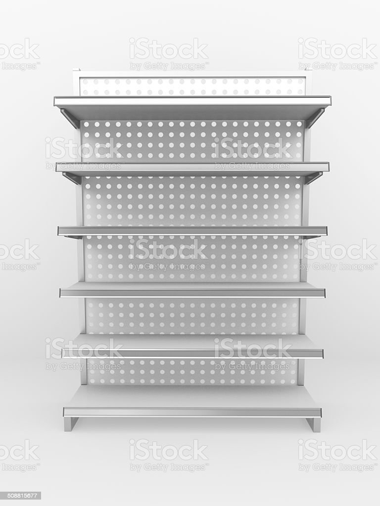grey metallic shelf stock photo