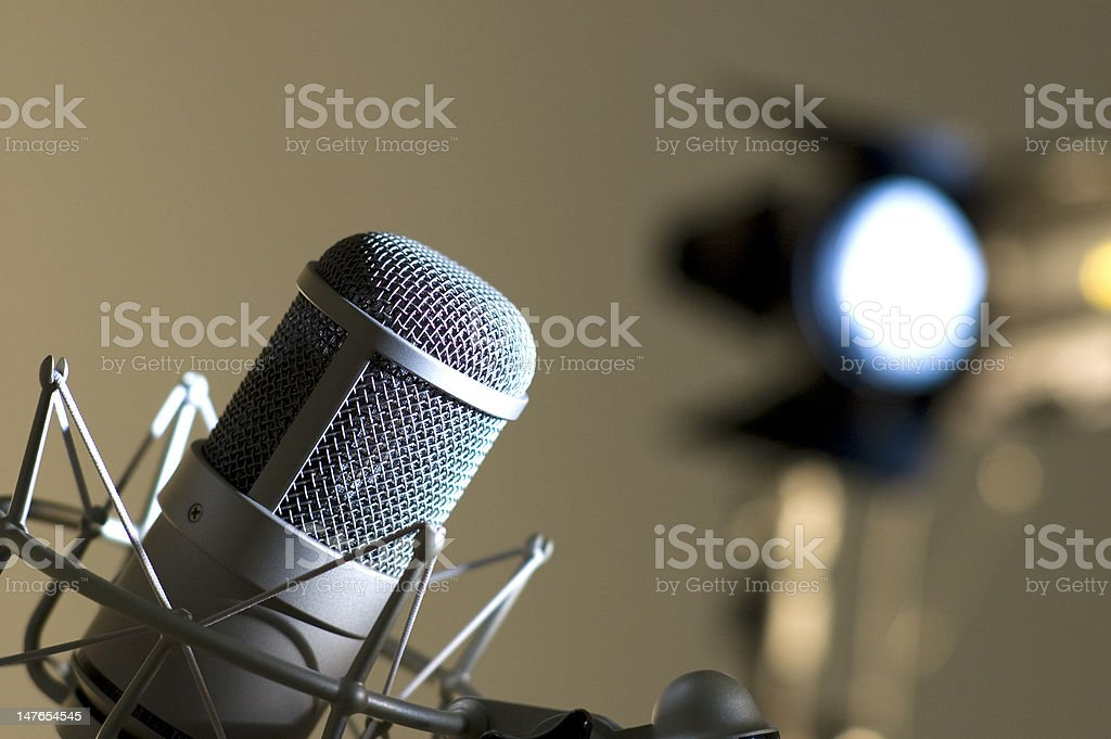 Grey microphone. royalty-free stock photo