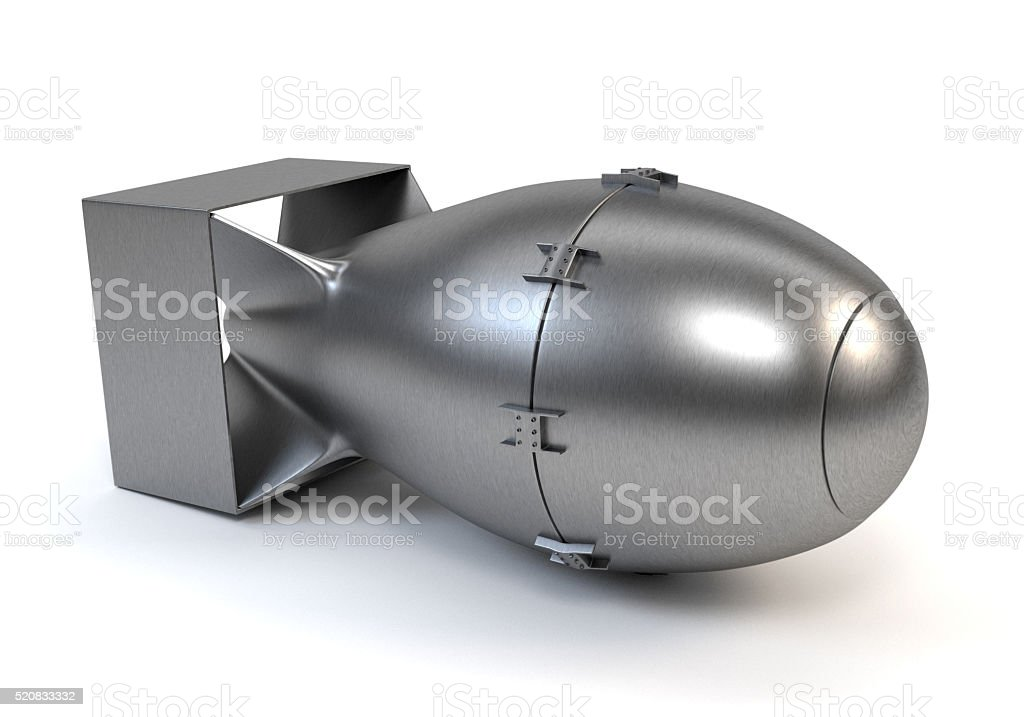 Grey nuclear bomb isolated on a white background.3d illustration stock photo