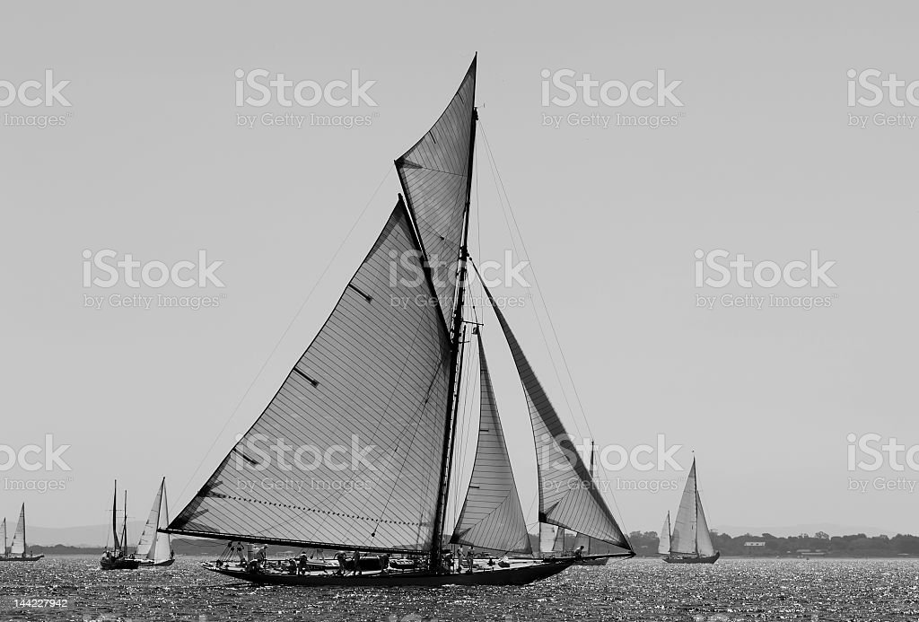 Grey picture of sailboats sailing in the wind royalty-free stock photo