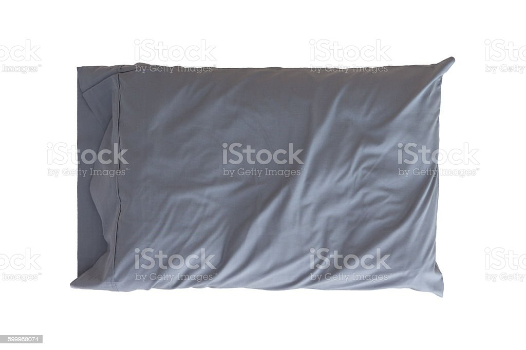 Grey pillow isolated on white stock photo