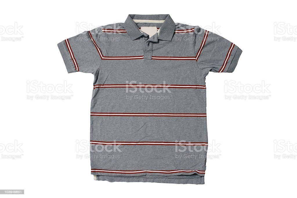 Grey Polo Shirt With Red/White Stripes - White Background royalty-free stock photo