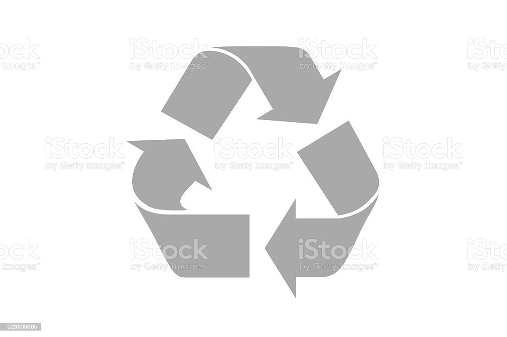Grey recycle symbol with clipping path stock photo