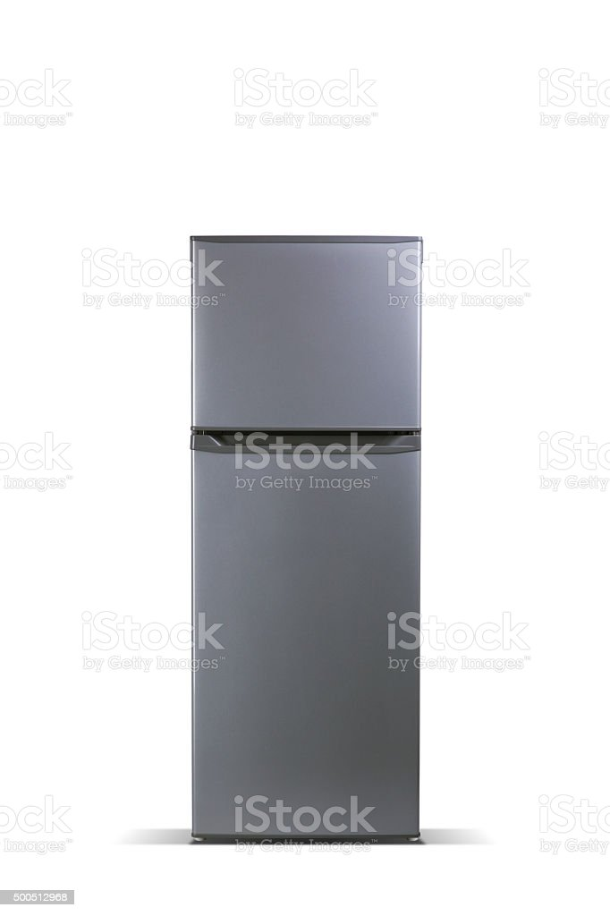 Grey refrigerator, fridge freezer stock photo
